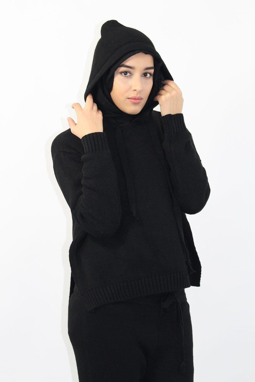 Pull à capuche en maille noir