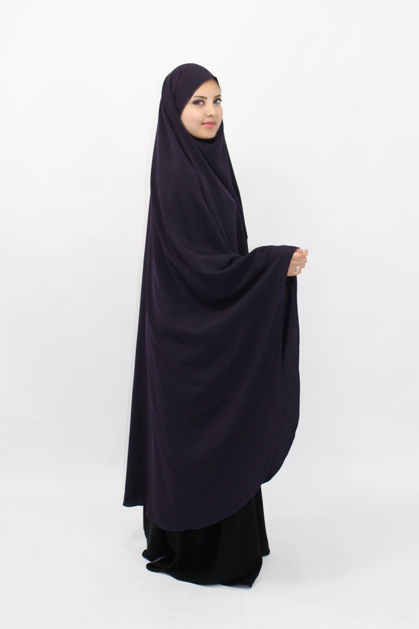 Long Khimar mini poignet Lycra noir wool peach