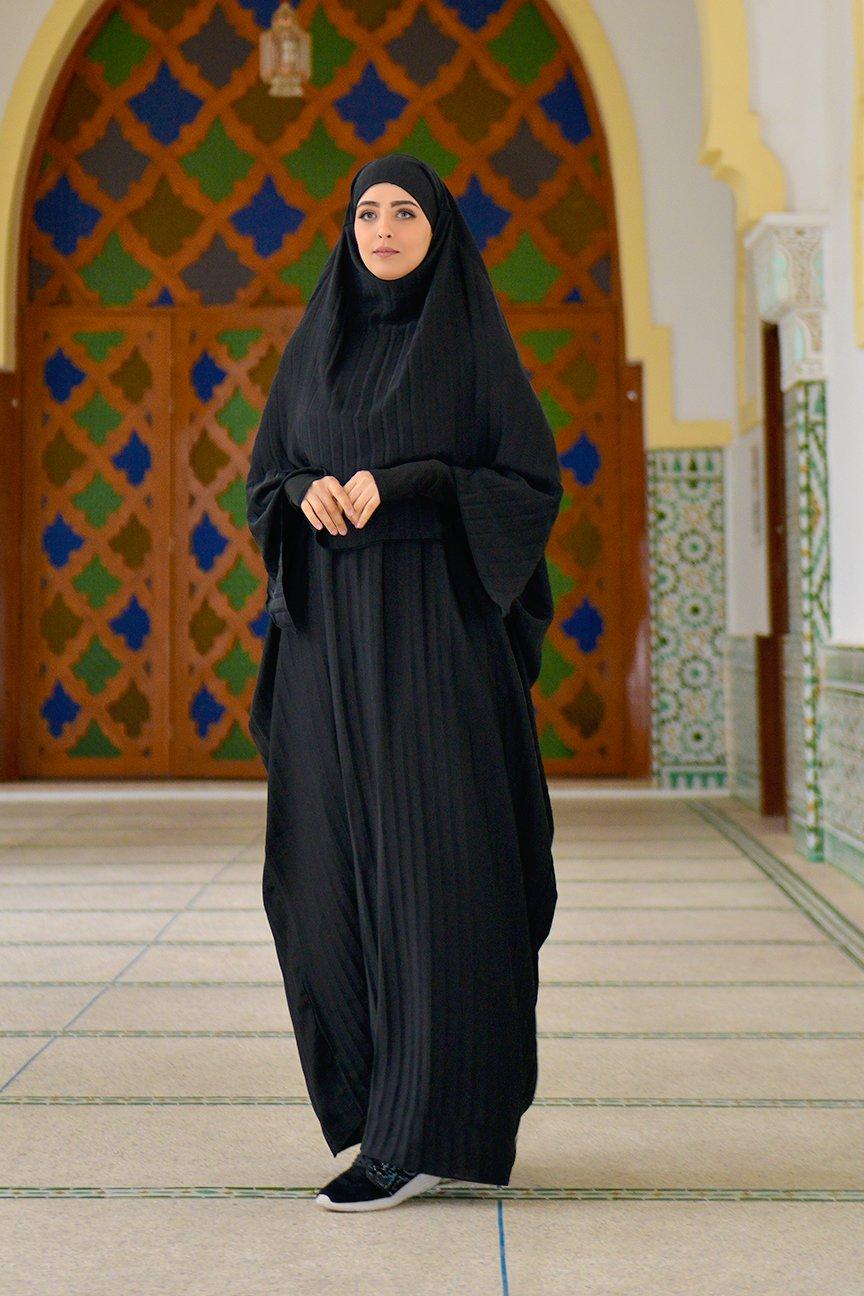 Abaya Khaleej Plissée + Khimar a Fentes