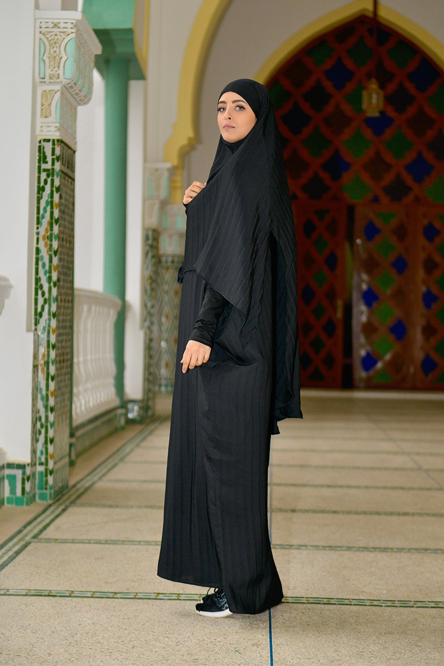 Khimar Slotted and Pleated