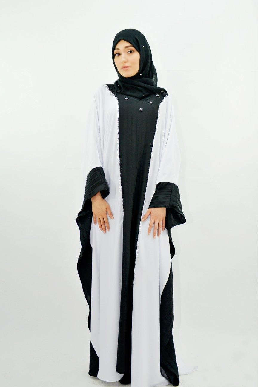 Gandoura Blanc Noir Plissée