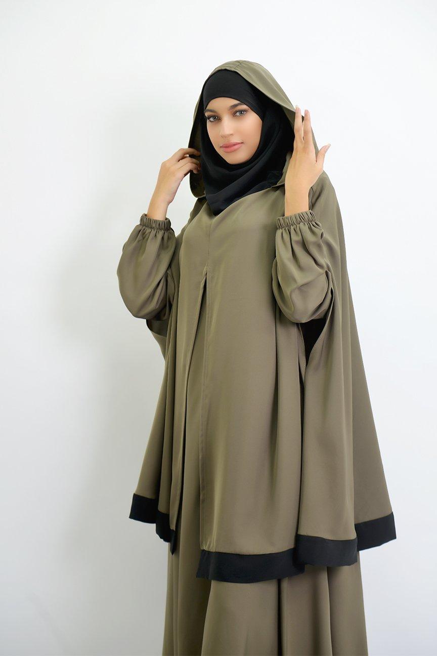 Abaya parapluie + cape hijab intégré Young
