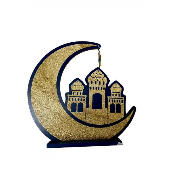 Support décoratif en bois lune