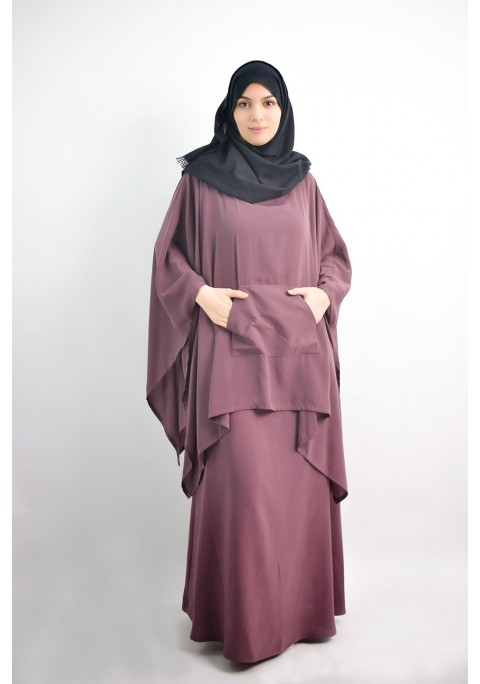 Sleeveless abaya with integrated poncho