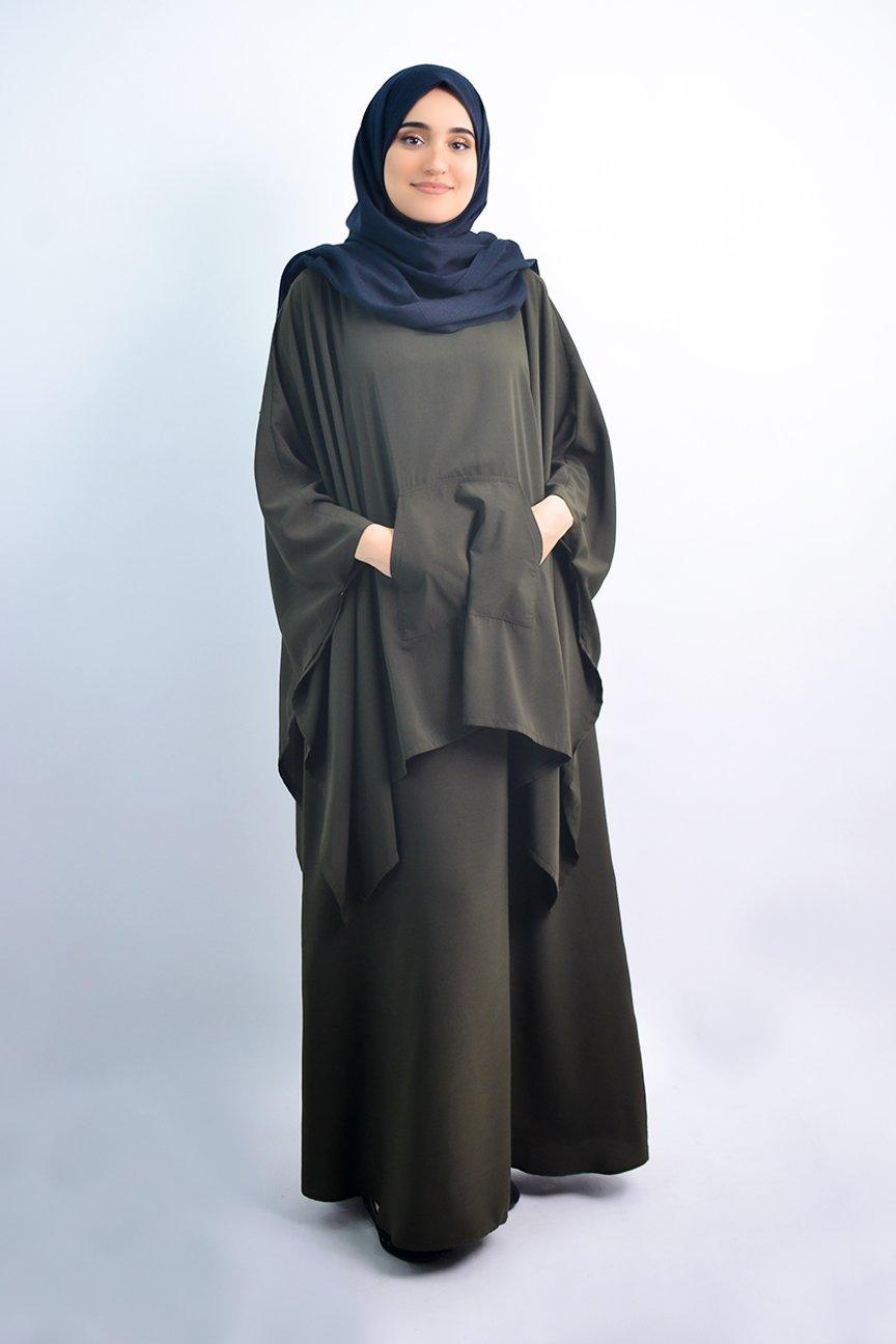 Abaya sans manche avec poncho intégré
