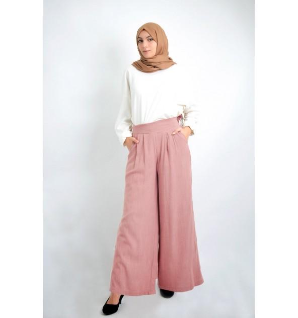 Pantalon large en lin