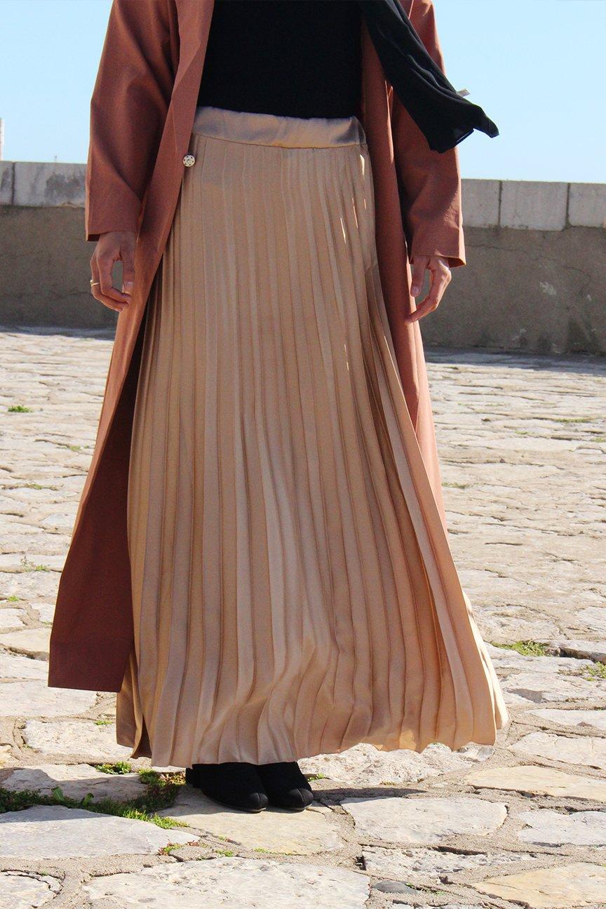 Longue jupe plissée satin
