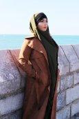 Long manteau en daim