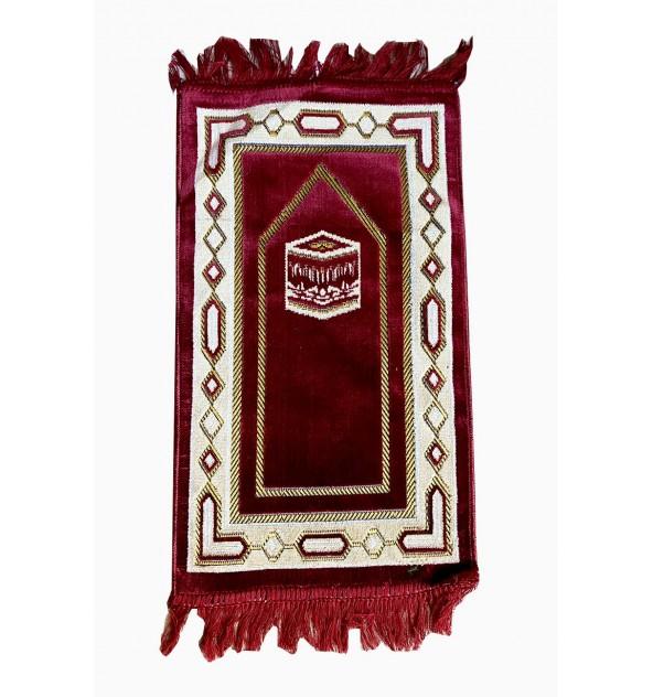 Tapis de prière enfant Makkah bordeau