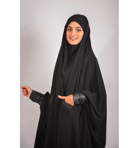 Jilbab All Black Leather effect